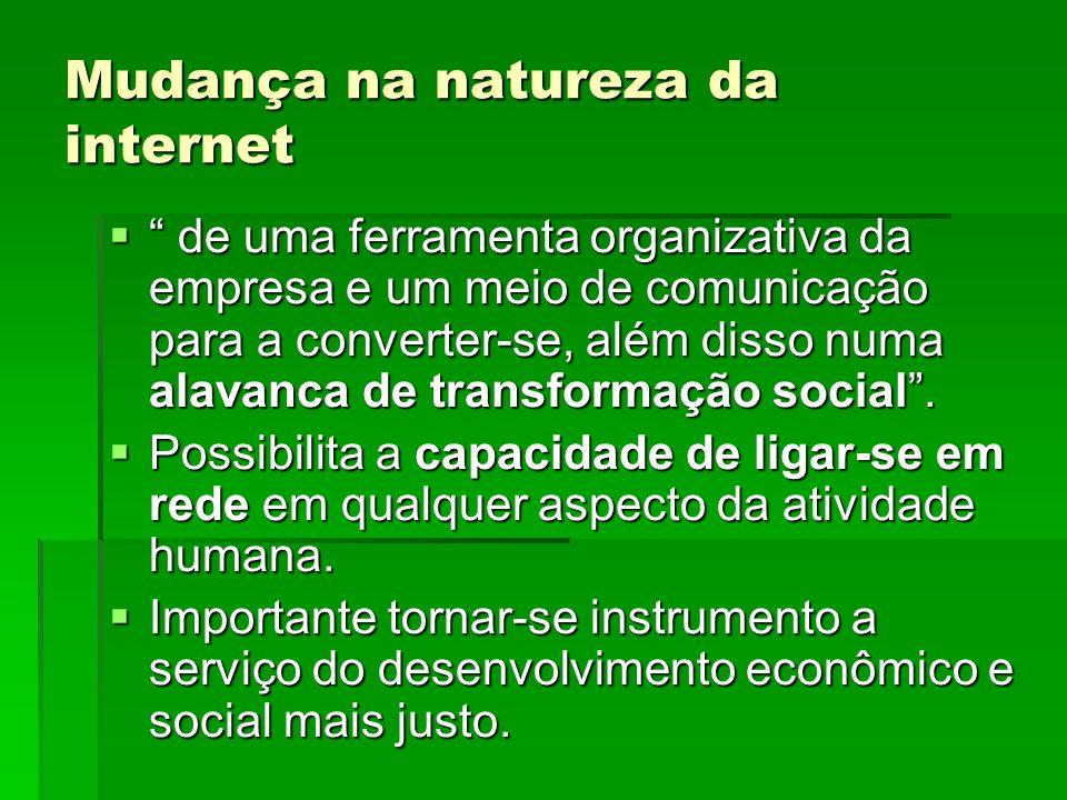 Mudança na natureza da internet