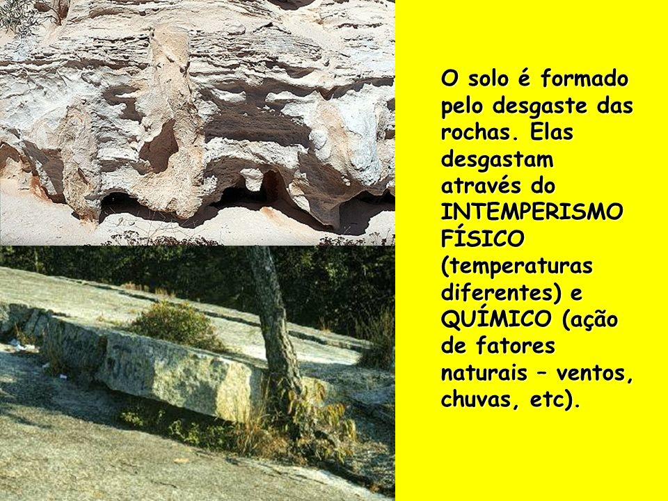 O solo é formado pelo desgaste das rochas