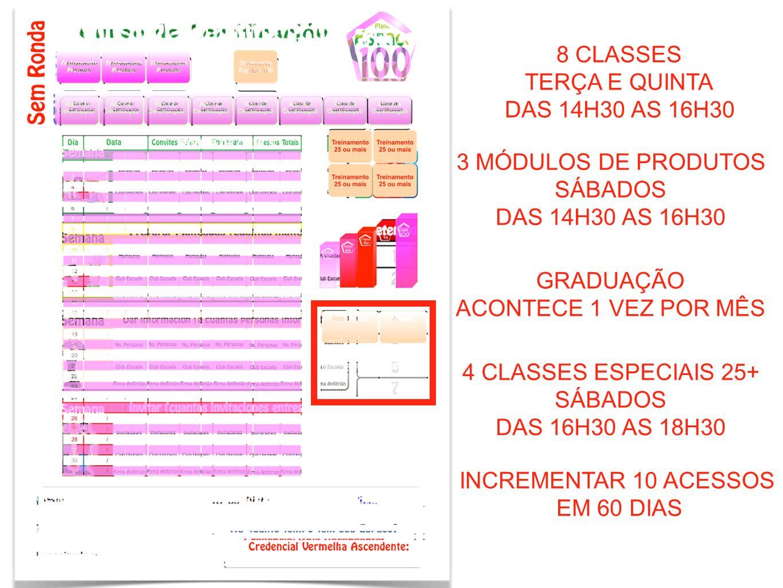 8 CLASSESTERÇA E QUINTA. DAS 14H30 AS 16H30. 3 MÓDULOS DE PRODUTOS. SÁBADOS. DAS 14H30 AS 16H30. GRADUAÇÃO.