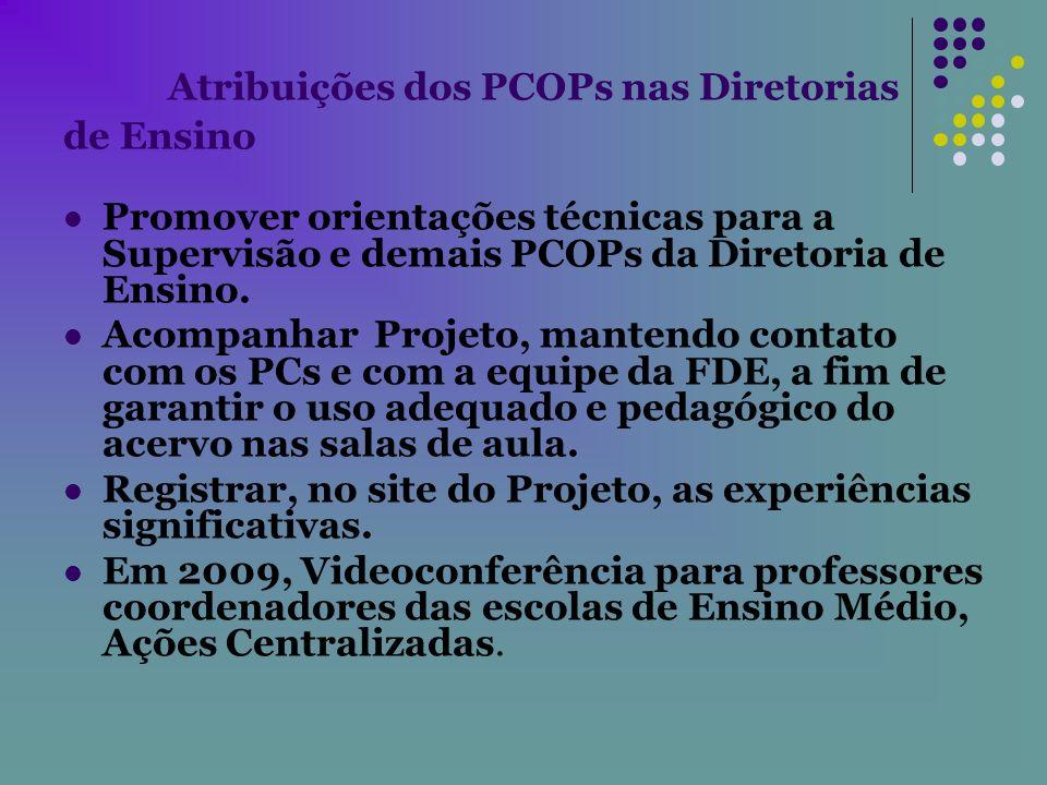 Atribuições dos PCOPs nas Diretorias de Ensino