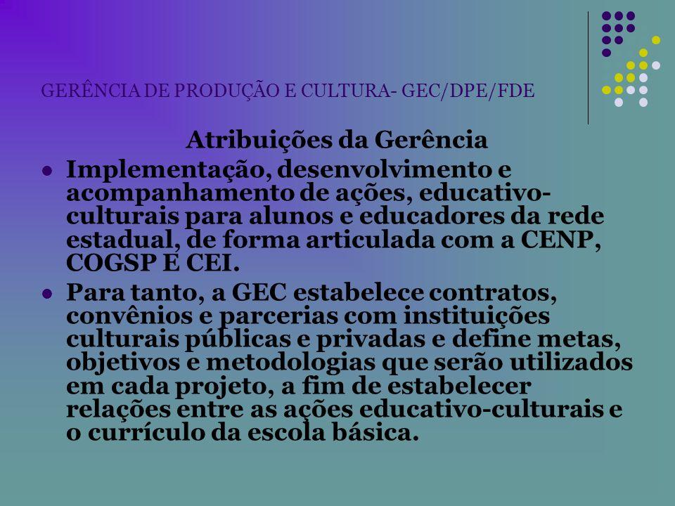 GERÊNCIA DE PRODUÇÃO E CULTURA- GEC/DPE/FDE