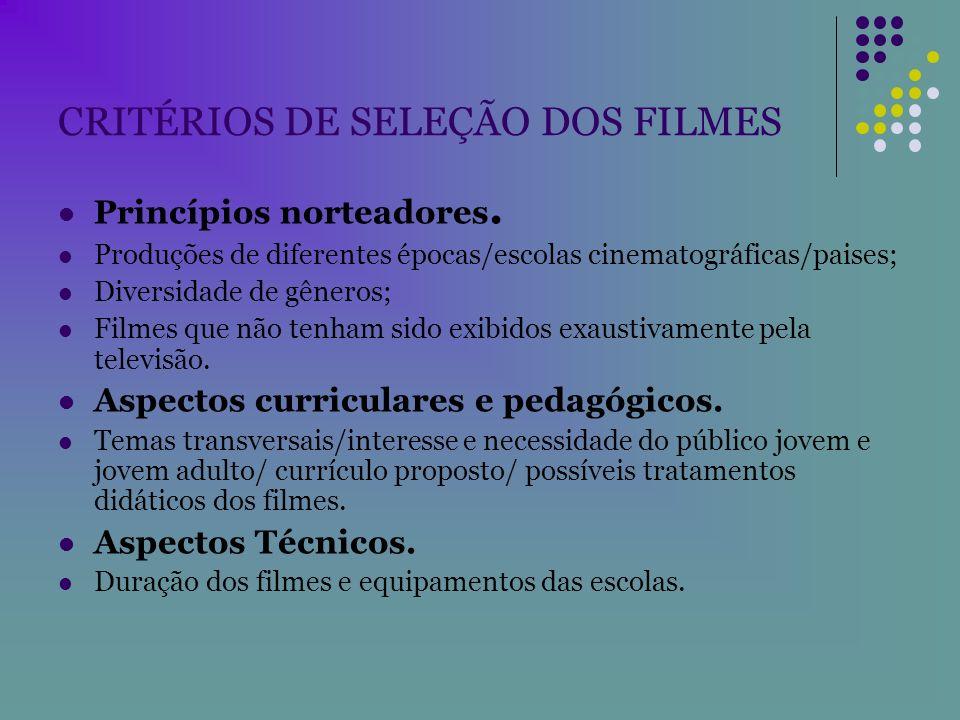 CRITÉRIOS DE SELEÇÃO DOS FILMES