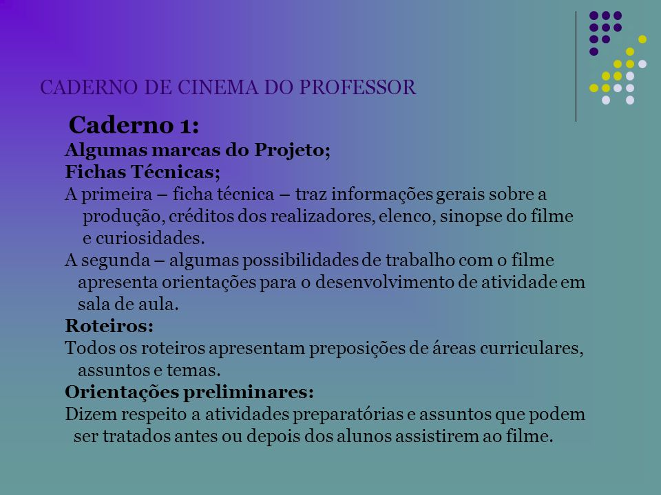 CADERNO DE CINEMA DO PROFESSOR
