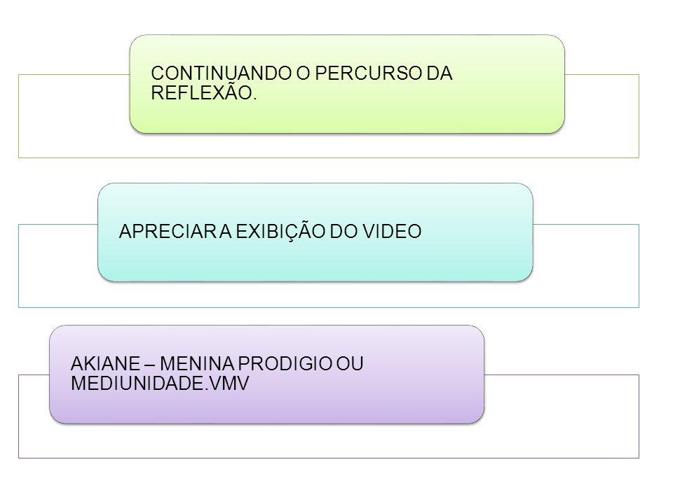 CONTINUANDO O PERCURSO DA REFLEXÃO.