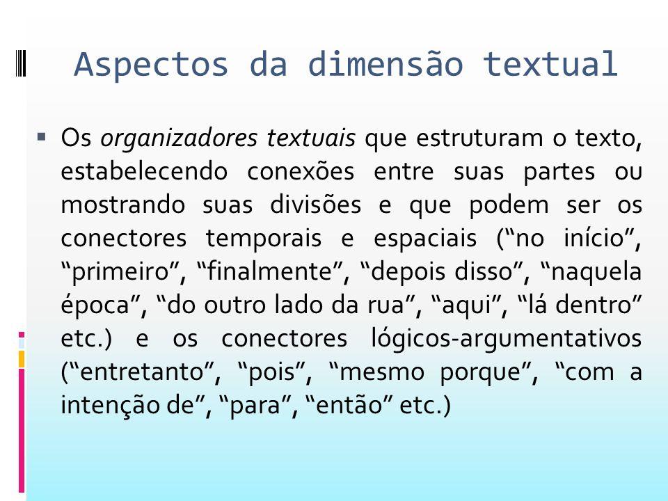 Aspectos da dimensão textual