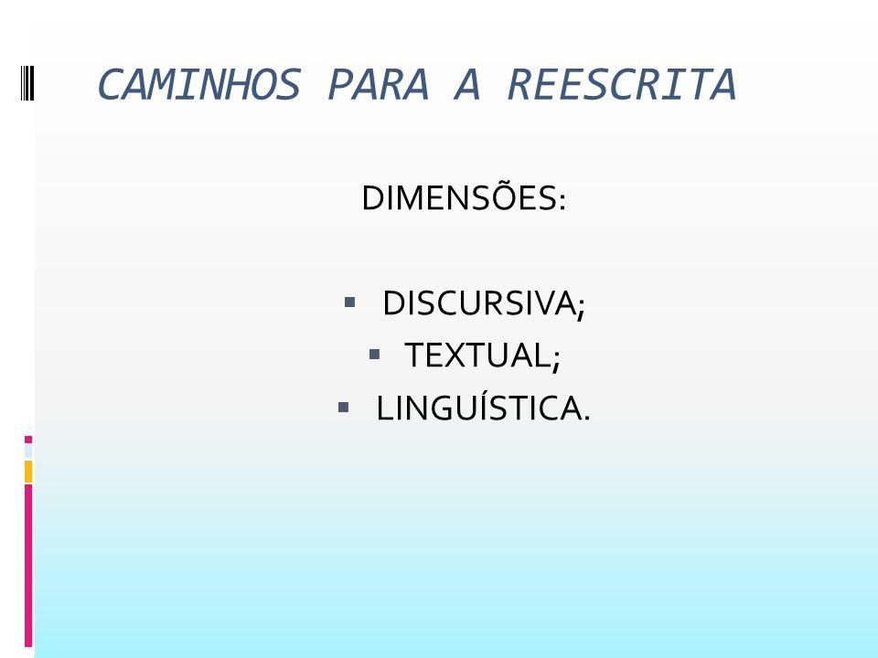 CAMINHOS PARA A REESCRITA