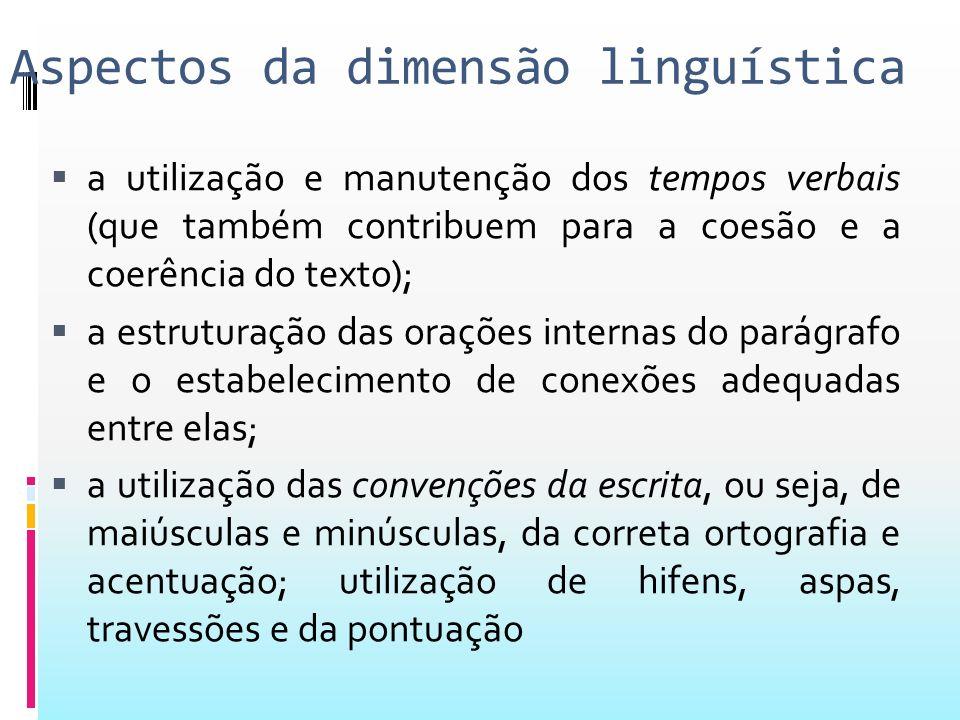 Aspectos da dimensão linguística