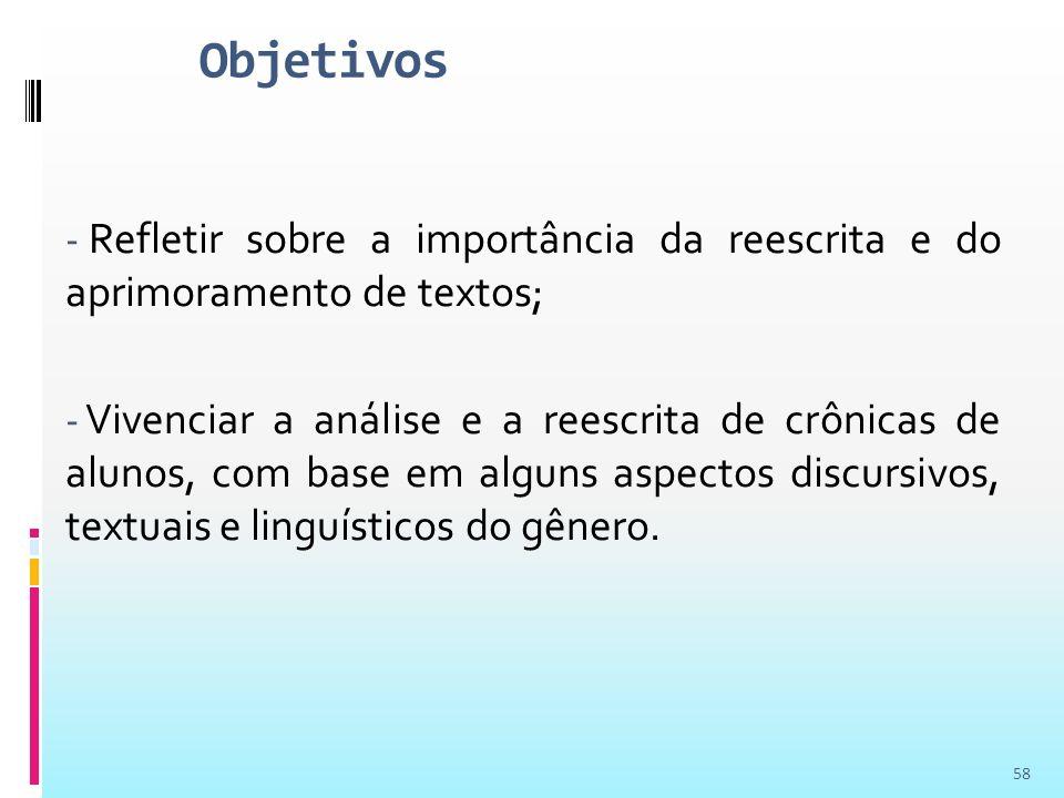 Objetivos Refletir sobre a importância da reescrita e do aprimoramento de textos;
