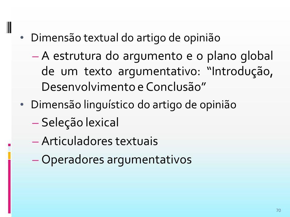 Articuladores textuais Operadores argumentativos