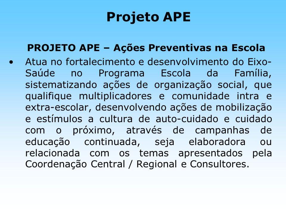 Projeto APE PROJETO APE – Ações Preventivas na Escola.