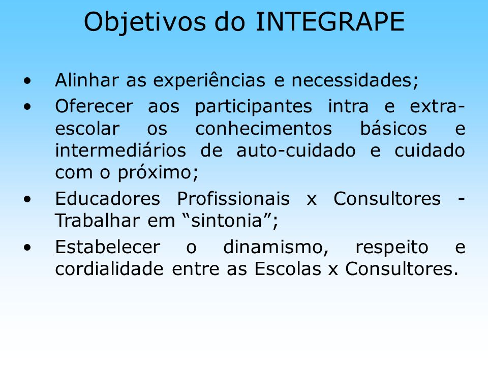 Objetivos do INTEGRAPE