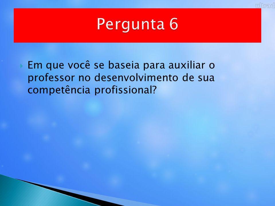 Pergunta 6 Em que você se baseia para auxiliar o professor no desenvolvimento de sua competência profissional