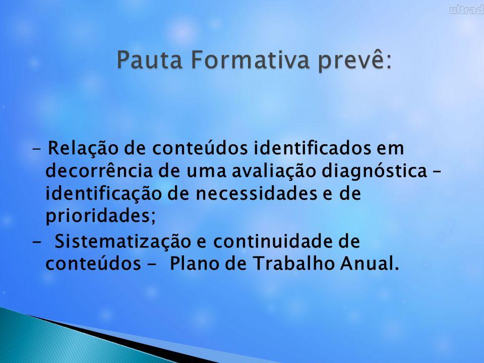 Pauta Formativa prevê: