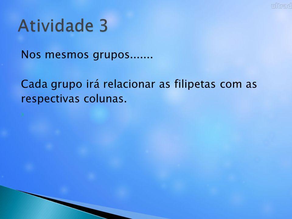 Atividade 3 Nos mesmos grupos.......