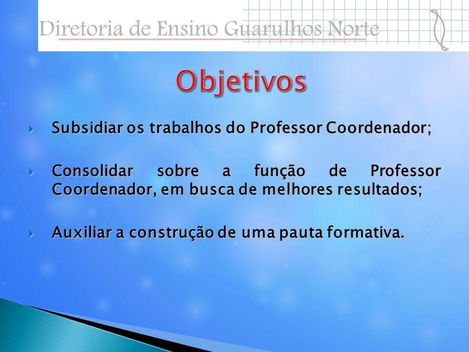 Objetivos Subsidiar os trabalhos do Professor Coordenador;