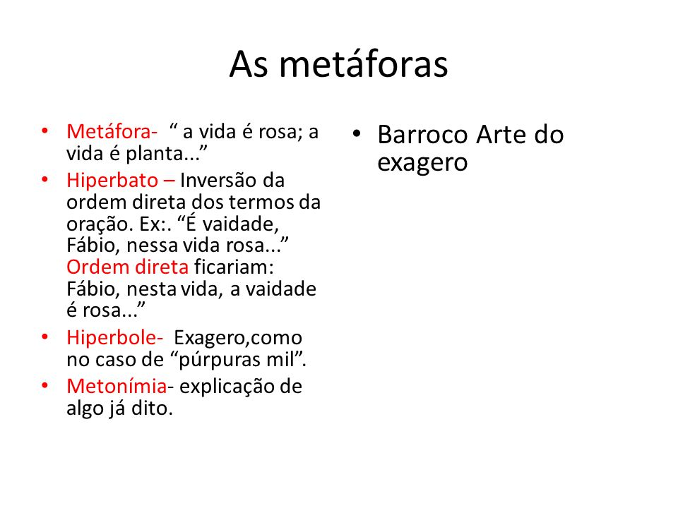 As metáforas Barroco Arte do exagero