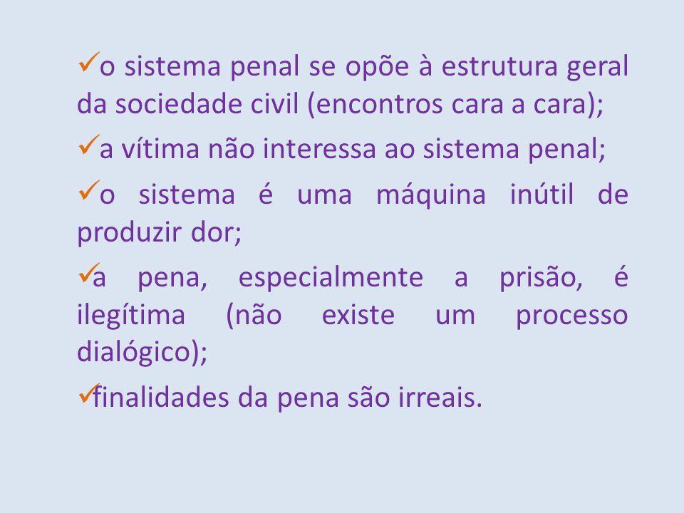 o sistema penal se opõe à estrutura geral da sociedade civil (encontros cara a cara);
