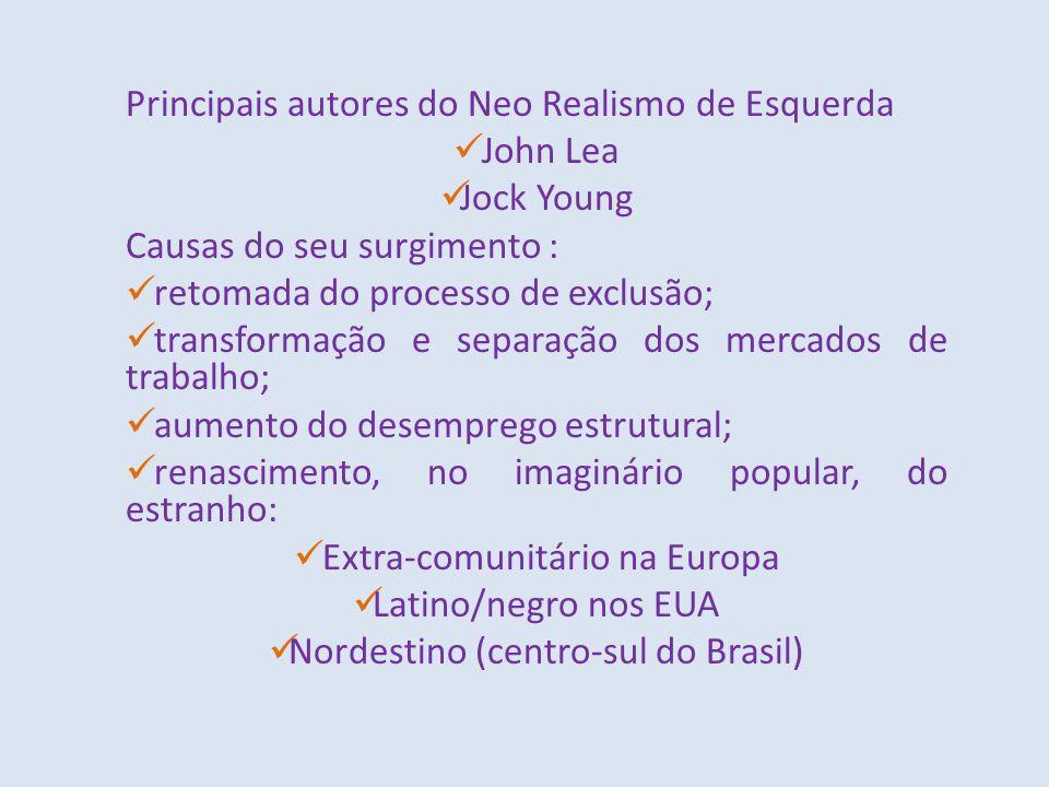 Principais autores do Neo Realismo de Esquerda John Lea Jock Young