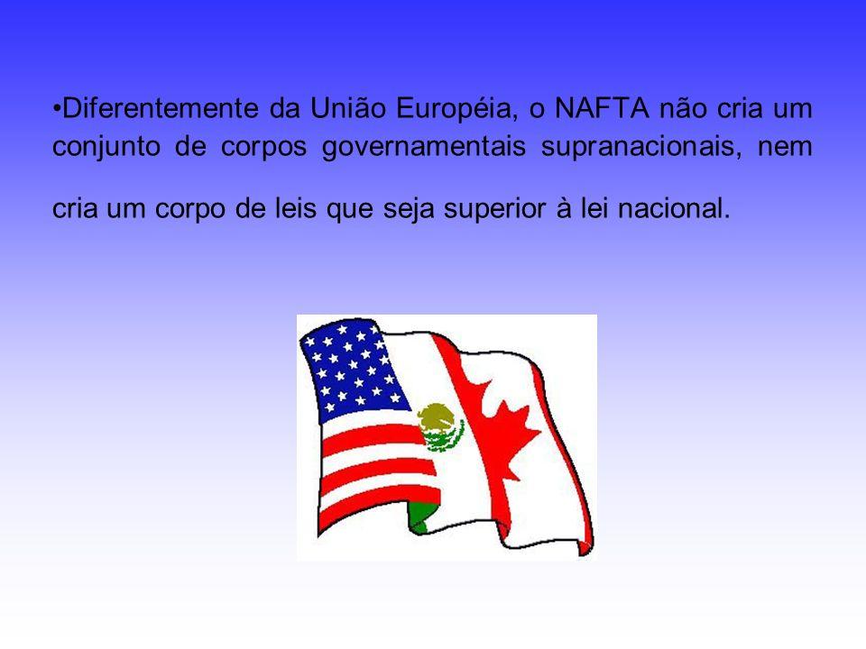 Diferentemente da União Européia, o NAFTA não cria um conjunto de corpos governamentais supranacionais, nem cria um corpo de leis que seja superior à lei nacional.