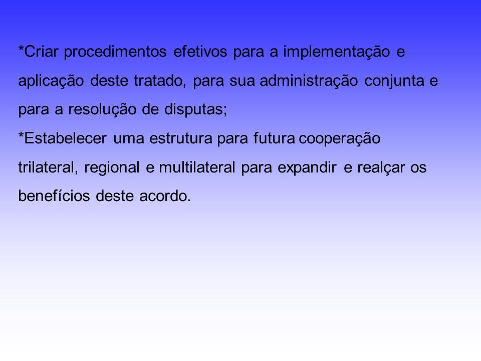 *Criar procedimentos efetivos para a implementação e aplicação deste tratado, para sua administração conjunta e para a resolução de disputas; *Estabelecer uma estrutura para futura cooperação trilateral, regional e multilateral para expandir e realçar os benefícios deste acordo.