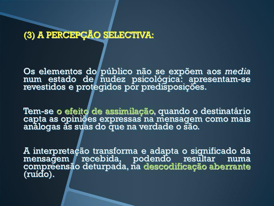 (3) A PERCEPÇÃO SELECTIVA: