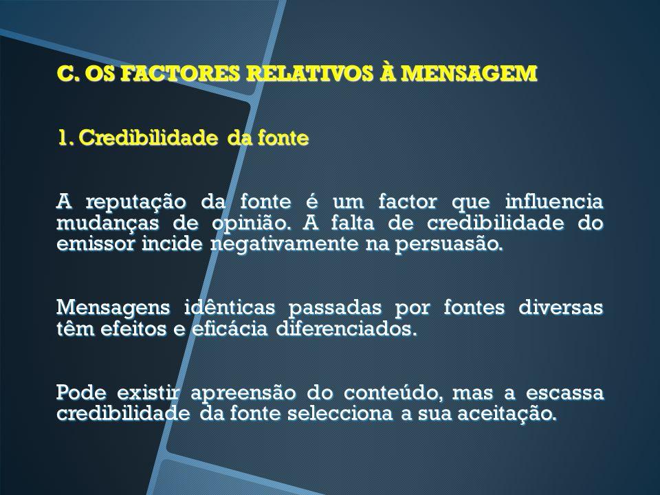 C. OS FACTORES RELATIVOS À MENSAGEM