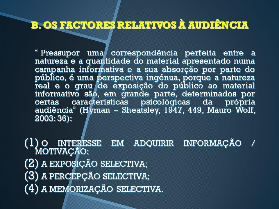 B. OS FACTORES RELATIVOS À AUDIÊNCIA