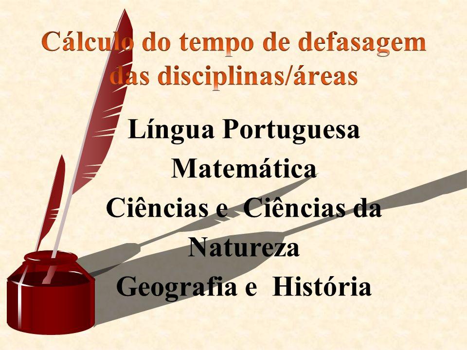 Cálculo do tempo de defasagem das disciplinas/áreas