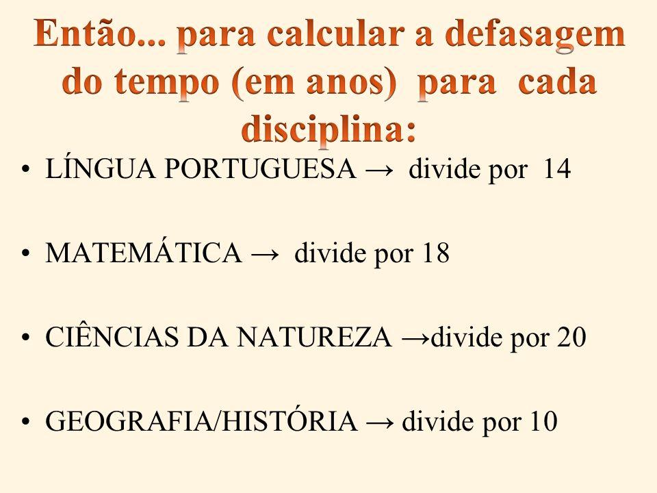 Então... para calcular a defasagem do tempo (em anos) para cada disciplina: