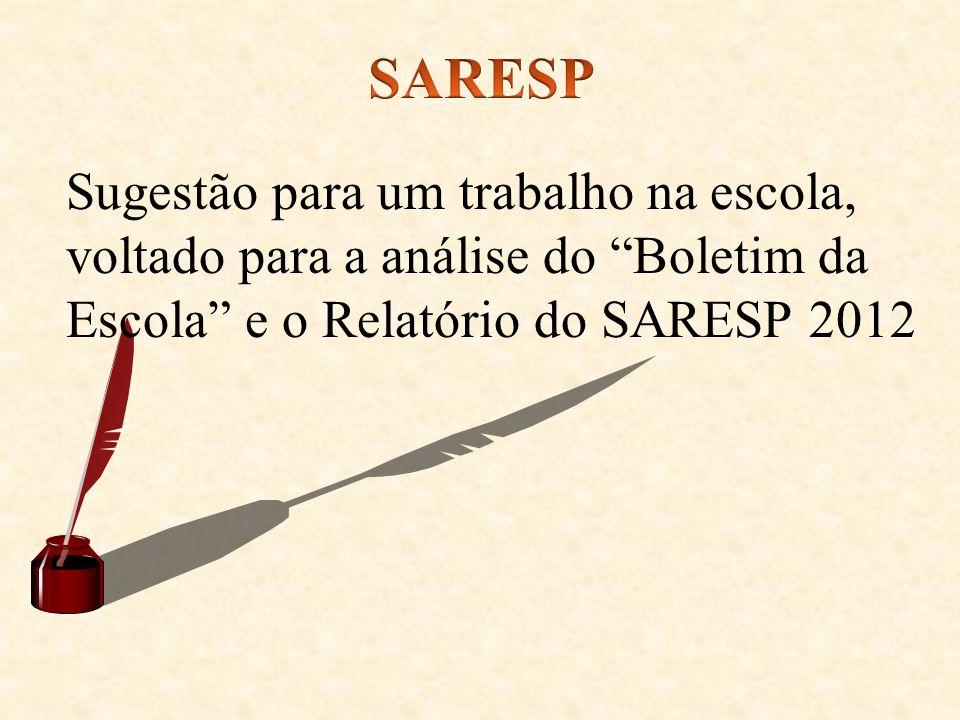 SARESP Sugestão para um trabalho na escola, voltado para a análise do Boletim da Escola e o Relatório do SARESP 2012.