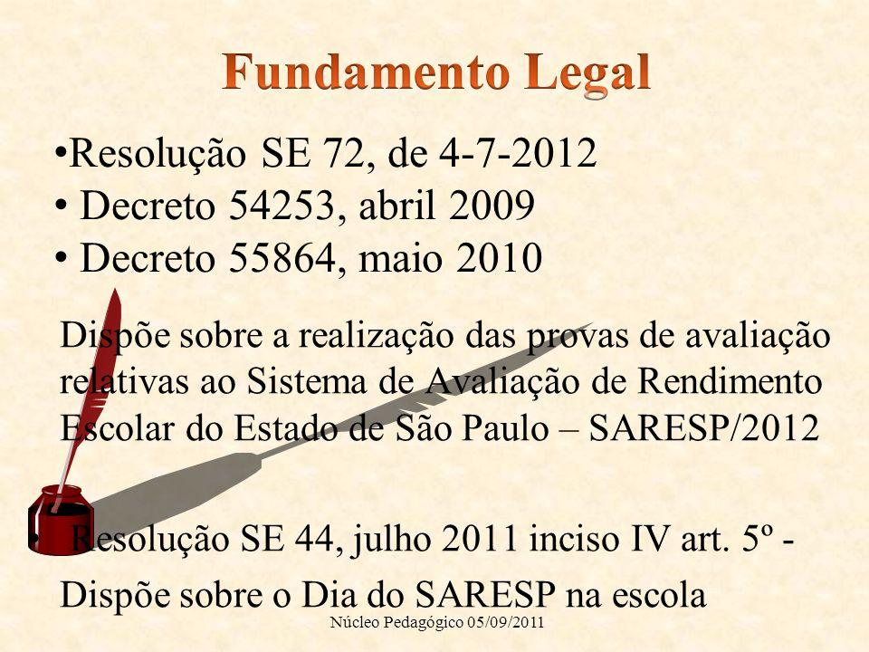 Fundamento Legal Resolução SE 72, de 4-7-2012