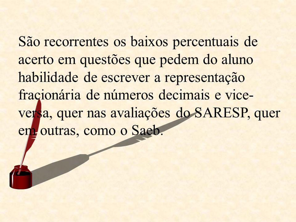 São recorrentes os baixos percentuais de acerto em questões que pedem do aluno habilidade de escrever a representação fracionária de números decimais e vice-versa, quer nas avaliações do SARESP, quer em outras, como o Saeb.