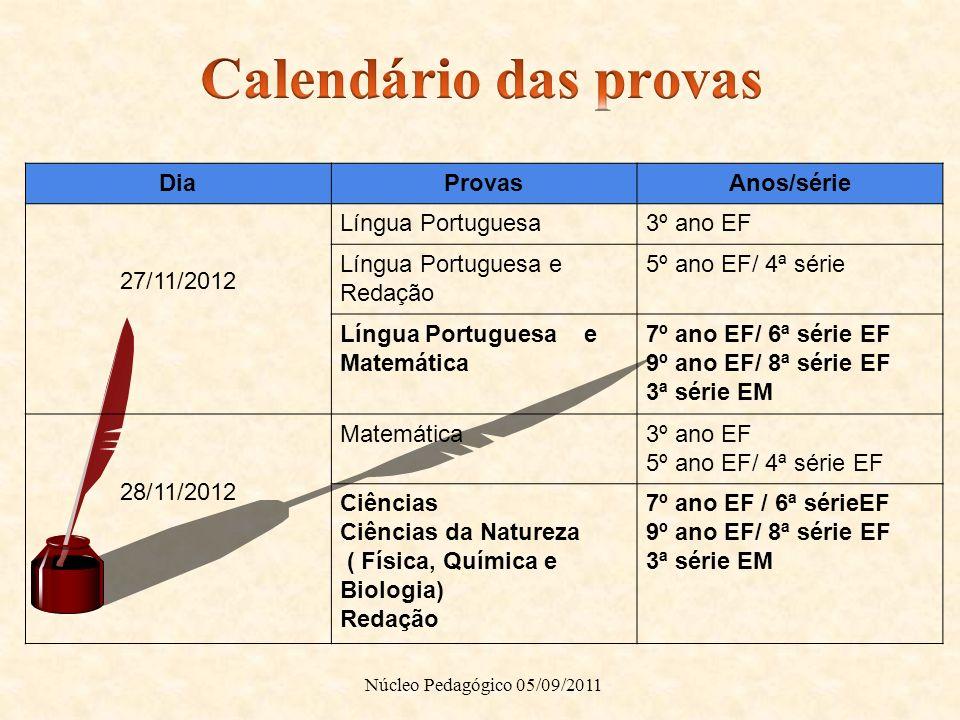 Calendário das provas Dia Provas Anos/série 27/11/2012