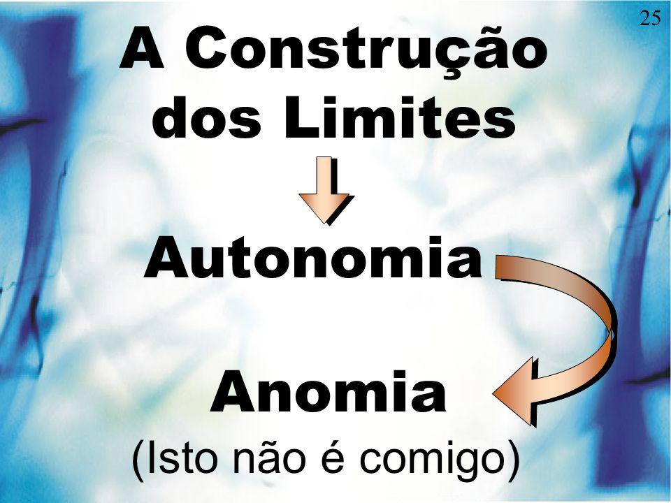 25 A Construção dos Limites Autonomia Anomia (Isto não é comigo)