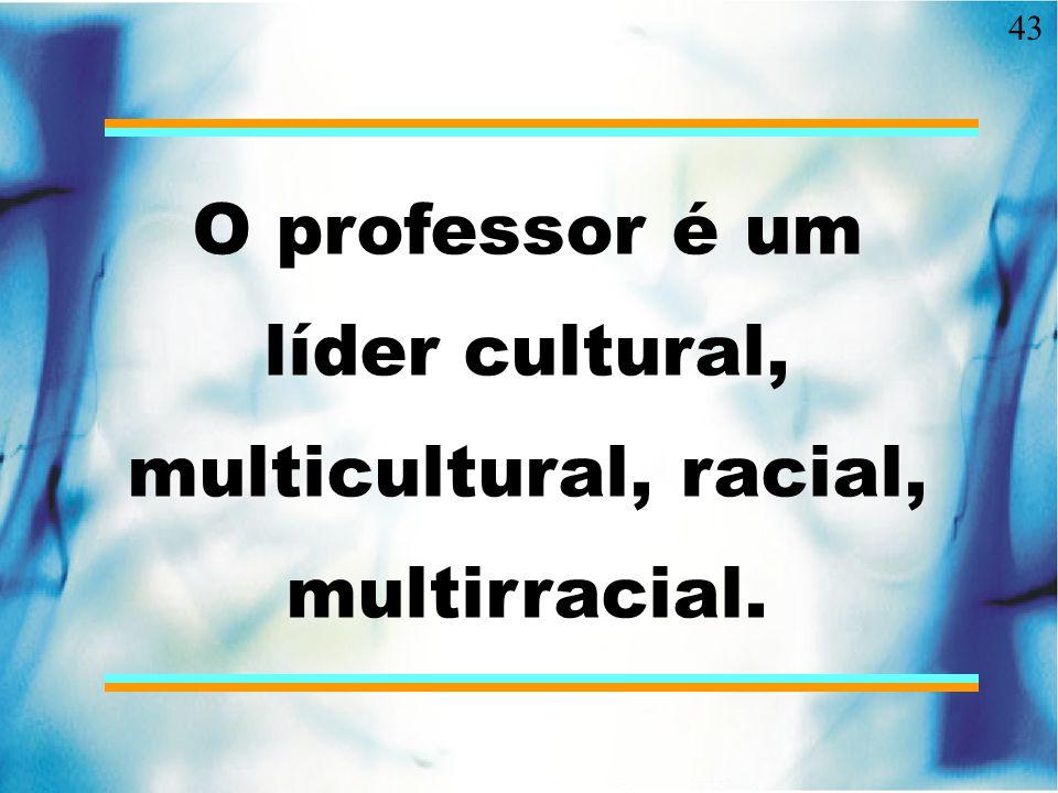 O professor é um líder cultural, multicultural, racial, multirracial.