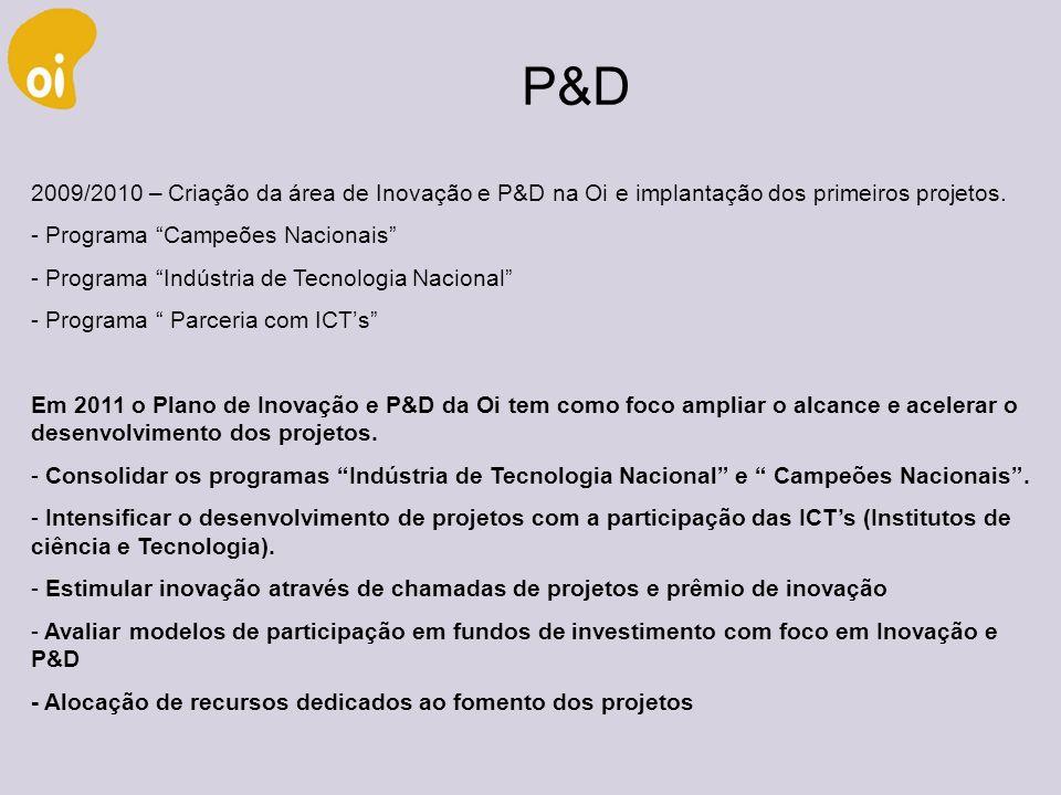 P&D 2009/2010 – Criação da área de Inovação e P&D na Oi e implantação dos primeiros projetos. Programa Campeões Nacionais