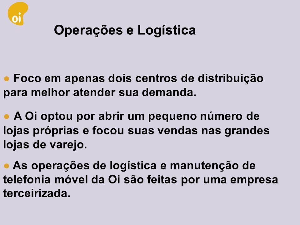 Operações e Logística● Foco em apenas dois centros de distribuição para melhor atender sua demanda.