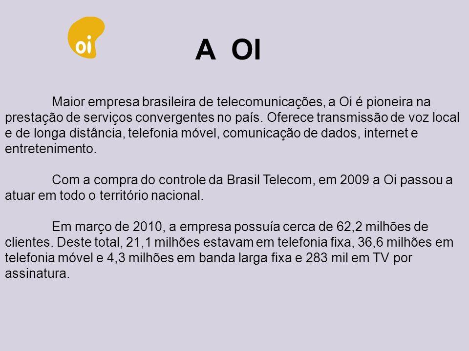 A OI Maior empresa brasileira de telecomunicações, a Oi é pioneira na prestação de serviços convergentes no país. Oferece transmissão de voz local.