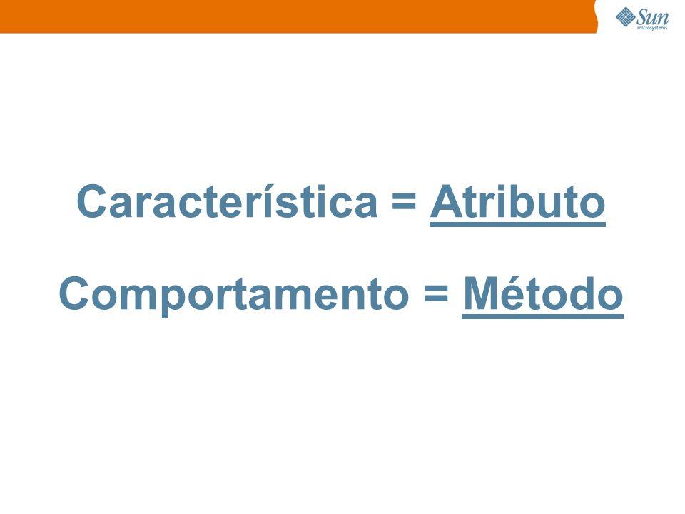Característica = Atributo Comportamento = Método