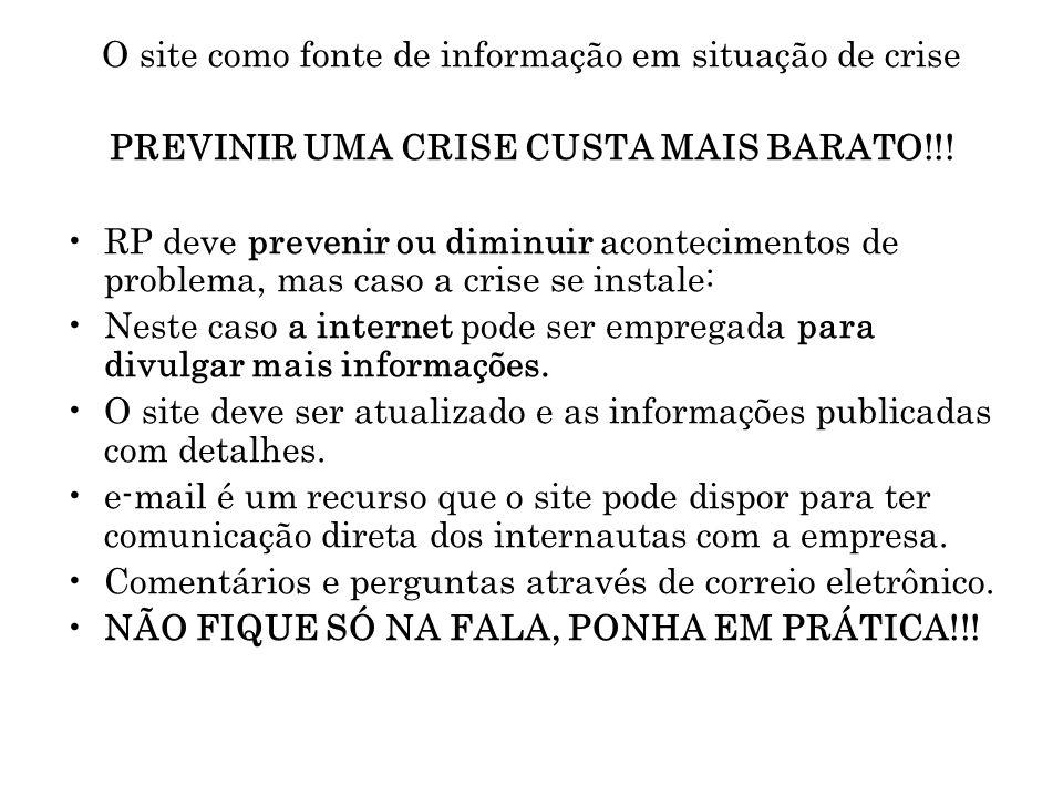 O site como fonte de informação em situação de crise