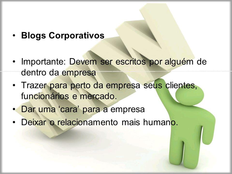 Blogs Corporativos Importante: Devem ser escritos por alguém de dentro da empresa.