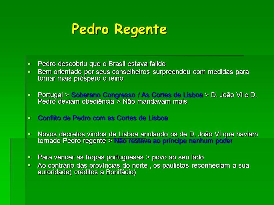 Pedro Regente Pedro descobriu que o Brasil estava falido