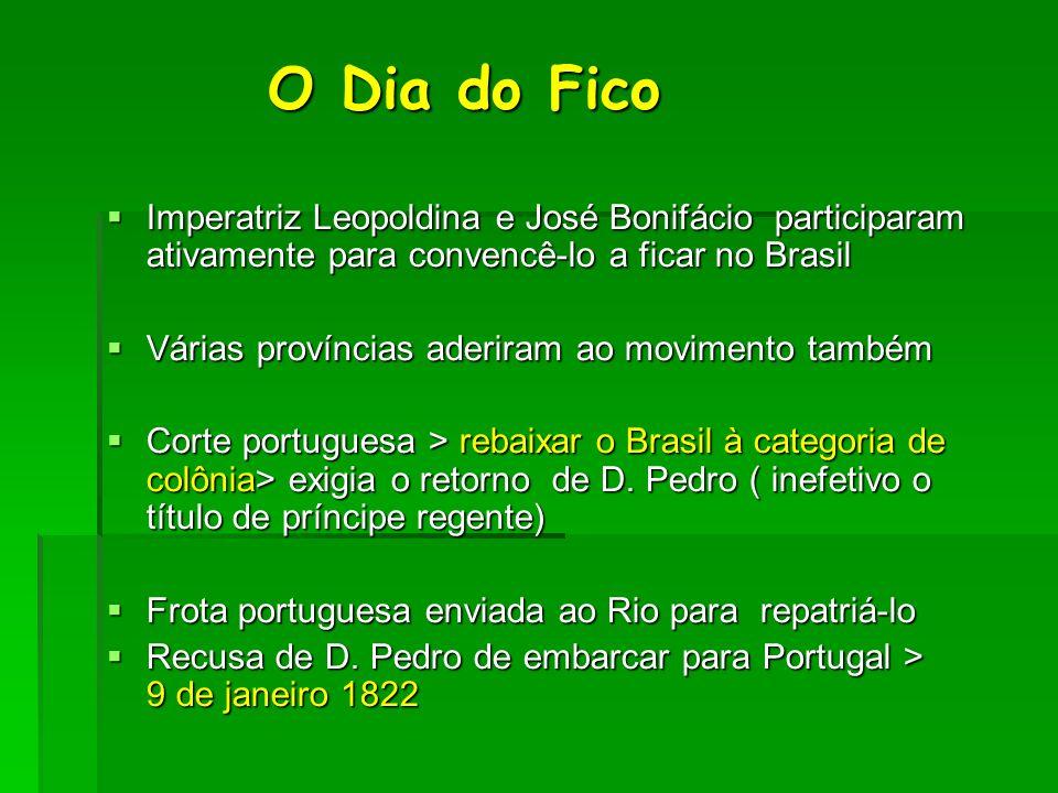 O Dia do FicoImperatriz Leopoldina e José Bonifácio participaram ativamente para convencê-lo a ficar no Brasil.