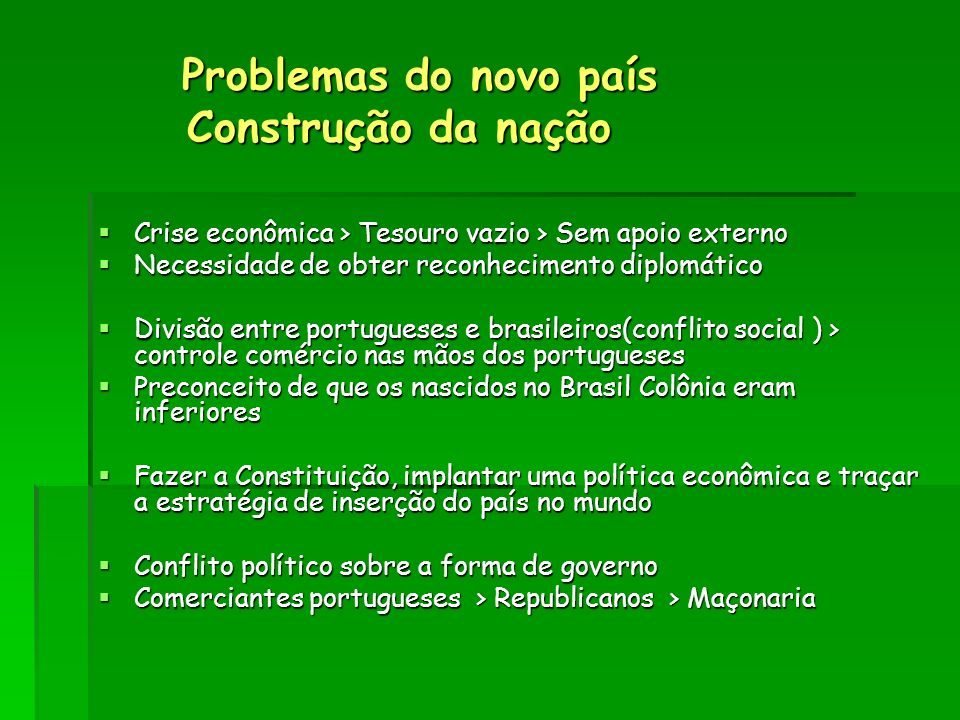 Problemas do novo país Construção da nação