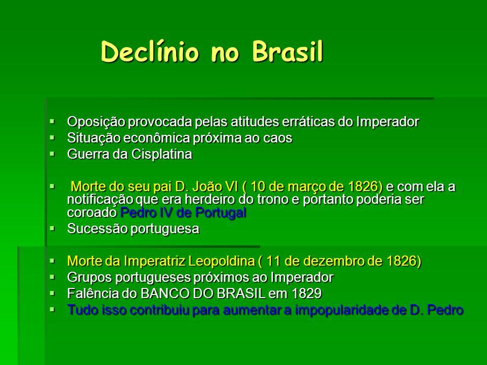 Declínio no Brasil Oposição provocada pelas atitudes erráticas do Imperador. Situação econômica próxima ao caos.