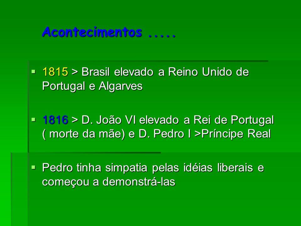 Acontecimentos .....1815 > Brasil elevado a Reino Unido de Portugal e Algarves.
