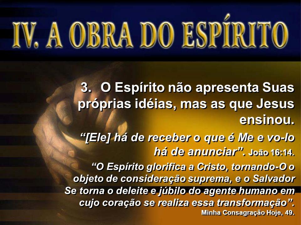 O Espírito não apresenta Suas próprias idéias, mas as que Jesus ensinou.