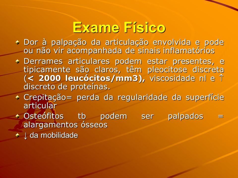 Exame FísicoDor à palpação da articulação envolvida e pode ou não vir acompanhada de sinais inflamatórios.