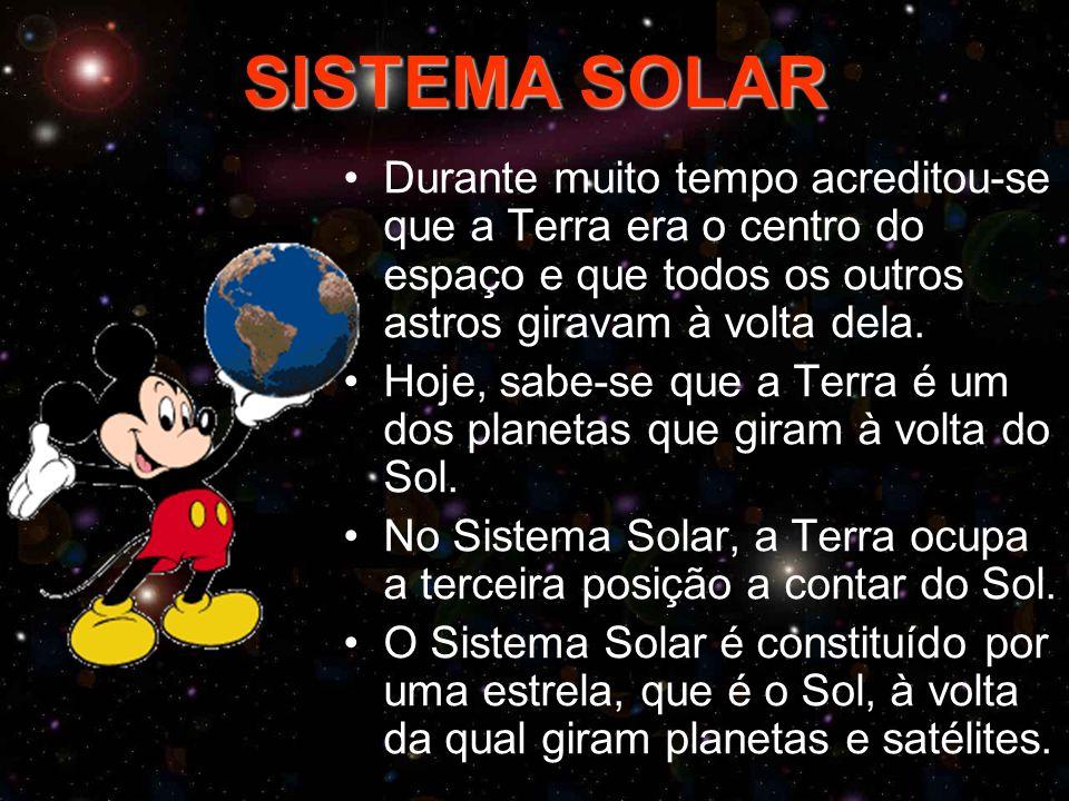SISTEMA SOLAR Durante muito tempo acreditou-se que a Terra era o centro do espaço e que todos os outros astros giravam à volta dela.