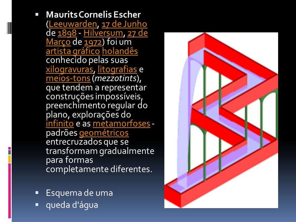 Maurits Cornelis Escher (Leeuwarden, 17 de Junho de 1898 - Hilversum, 27 de Março de 1972) foi um artista gráfico holandês conhecido pelas suas xilogravuras, litografias e meios-tons (mezzotints), que tendem a representar construções impossíveis, preenchimento regular do plano, explorações do infinito e as metamorfoses - padrões geométricos entrecruzados que se transformam gradualmente para formas completamente diferentes.